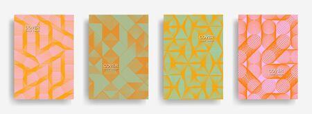 Modern  halftone shapes minimal geometric cover templates set graphic design. Halftone lines grid vector background of triangle, hexagon, rhombus, circle shapes. Future geometric cover backgrounds. 일러스트