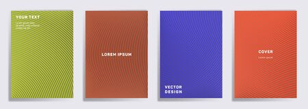 Flat covers linear design. Radial semicircle geometric lines patterns. Abstract backgrounds for notepads, notice paper covers. Line stripes graphics, title elements. Annual report covers.