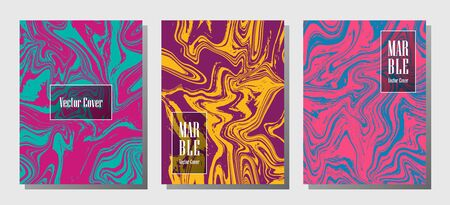 Flat marble prints, vector cover design templates. Fluid marble stone texture iInteriors fashion magazine backgrounds  Corporate journal patterns set of liquid ink waves. Flyers, banners set.