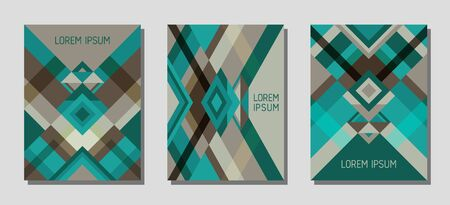 Collection of cover page layouts, vector templates geometric design with triangles and stripes. Festive mexican motifs. Bauhaus pattern vector covers design. Cool rhombus stripe triangle shapes.