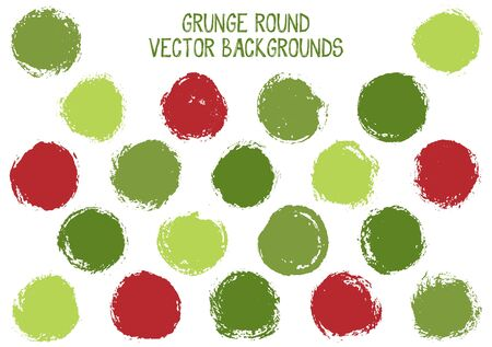 Vector grunge circles design. Rough stamp texture circle scratched label backgrounds.