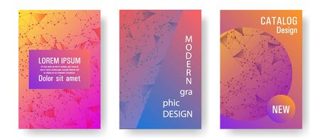 Vector cover layout design. Global network connection geometric grid. Interlinked nodes, atom, web or big data cloud structure concept. Information technology concept cover. 일러스트