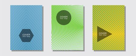Certificate layouts vector graphic design set. Balanced posh mockups. Halftone lines music poster background. Minimalist geometry. Flat lines shapes backgrounds for certificate layout.