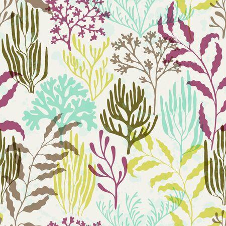 Coral reef seamless pattern. Kelp laminaria seaweed algae background. Undersea reef flora pattern. Underwater plants textile print vector design. Tropical coral reef branch silhouette elements. Illustration