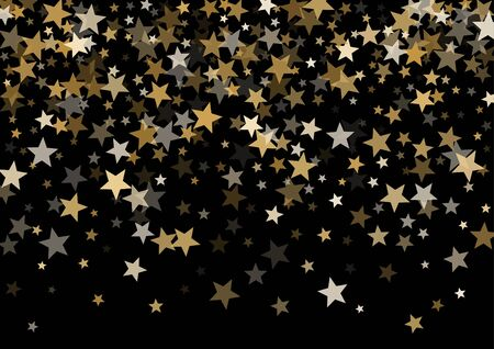 Magic gold vector star background. Gold falling sparkle pattern on black. Christmas, New Year, Birthday party festive holiday gold flying and falling stars magical background, metallic glitter design.