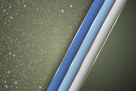 Gold halftone dots and inclined ribbon stripes banner vector design. VIP poster background template. Futuristic cover graphic design. Gradient facets shapes, stripes gold edges lines vector. 일러스트