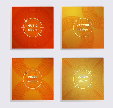 Vintage vinyl records music album covers set. Semicircle curve lines patterns. Colorful creative vinyl music album covers, disc mockups. DJ records disc vector mockups. Banners flyers cards set.