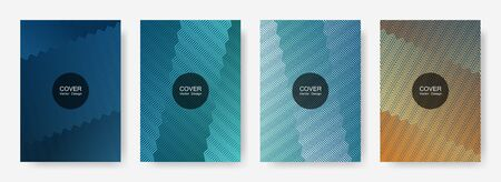 Zig zag lines halftone banner templates set, gradient stripes texture vector backgrounds for   booklet covers. Simple zig zag gradient line stripes composition. Advertising banners set.