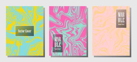 Graphic marble prints, vector cover design templates. Fluid marble stone texture iInteriors fashion magazine backgrounds  Corporate journal patterns set of liquid paint waves. Flyers, banners set.