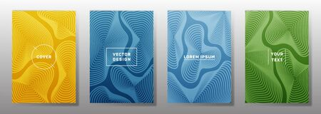 Flat covers linear design. Fluid curve shapes geometric lines patterns. Geometric backgrounds for catalogues, business magazine. Lines texture, header title elements. Annual report covers. 일러스트