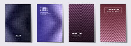 Flat cover templates set. Geometric lines patterns with edges, angles. Modern backgrounds for catalogues, business magazine. Line stripes graphics, title elements. Annual report covers.