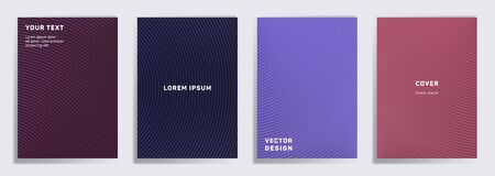 Simple covers linear design. Radial semicircle geometric lines patterns. Cool backgrounds for notepads, notice paper covers. Lines texture, header title elements. Cover page layouts set.