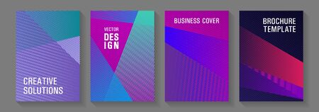 Brochure cover layouts halftone vector set. Banner backdrop simple print ideas. Laconic corporate style.
