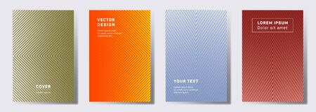 Flat cover templates set. Geometric lines patterns with edges, angles. Gradient backgrounds for cataloges, corporate brochures. Line shapes patterns, header elements. Cover page layouts set. 일러스트