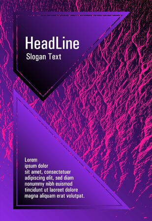 Brochure layout design template. Plastic pink, proton purple esports texture. Buzzing flux ripple movement background. Business brochure vector cover layout. Geometric creative solutions. Иллюстрация