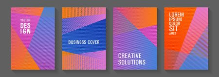 Geometric shapes line texture templates. School notebook cover templates set. Advertising commercial magazines. Sale catalog vivid mockups. Triangle element layers modern patterns.