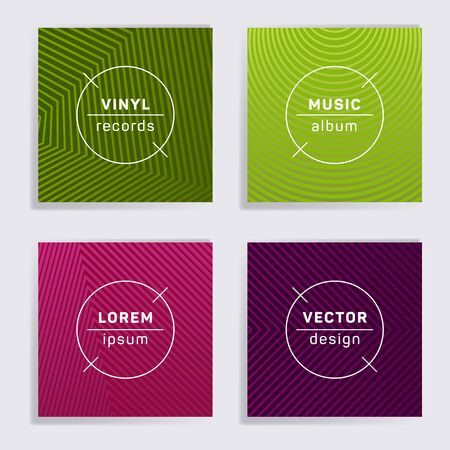 Abstract vinyl records music album covers set. Halftone lines backgrounds. Tech creative vinyl music album covers, disc mockups. DJ records disc vector mockups. Techno party posters.