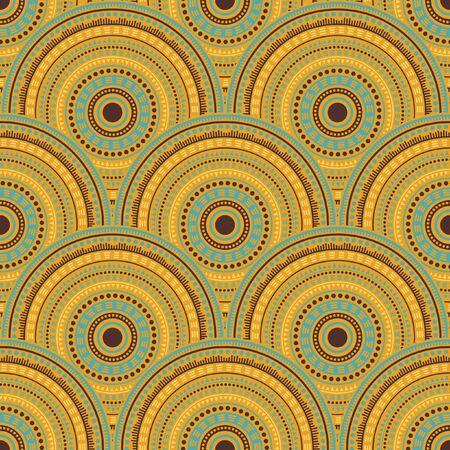 Gypsy fish scale background vector seamless pattern. Ethnic motifs modern repeating geometry. Romanian ethnic circle mandala elements seamless geometric pattern.