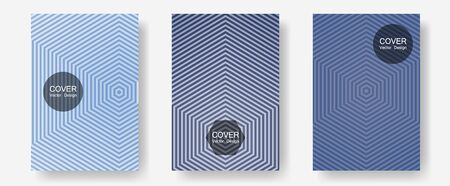 Banner graphics cool vector templates set. Simple book covers. Halftone lines annual report templates. Neoteric composition. Abstract banners graphic design with lined shapes.