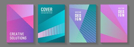 Brochure cover layouts vector geometrics. Advertising publication backdrops. Triangle element layers modern patterns. Corporate branding leaflets. Cover templates set with logo places.