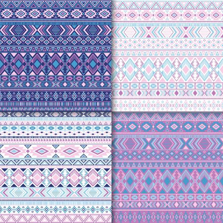 Mayan tribal ethnic motifs geometric patterns set. Unusual tribal motifs clothing fabric textile ethno prints traditional design. Native american folk fashion prints. 일러스트