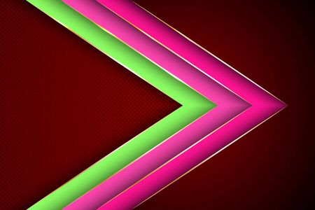 Polygonal arrow with gold triangle edge lines banner vector design. VIP banner background template. Gold metallic edge lines, gradient overlapping shapes. Trendy tech vector graphics.
