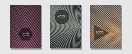 Cool flyers set, vector halftone poster backgrounds. Business folders branding. Halftone lines music poster background. Music placards. Geometric lines shapes patterns set for flyer design. 일러스트