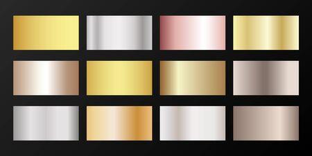 Silver, platinum, bronze, pink gold vector metallic gradients. Badges set. Graphic elements of gold, bronze and silver gradients for award medals or coins design. Illusztráció