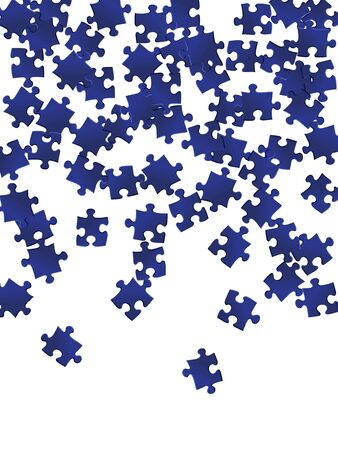 Business crux jigsaw puzzle dark blue parts vector illustration. Scatter of puzzle pieces isolated on white. Challenge abstract concept. Kids building kit pattern.