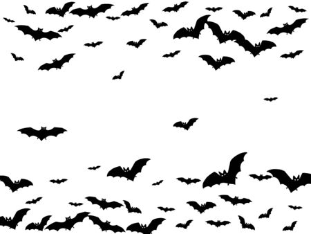 Evil black bats group isolated on white vector Halloween background. Flittermouse night creatures illustration. Silhouettes of flying bats vampire Halloween symbols on white. Ilustração