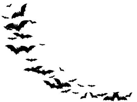 Gothic black bats swarm isolated on white vector Halloween background. Flittermouse night creatures illustration. Silhouettes of flying bats vampire Halloween symbols on white. Ilustração