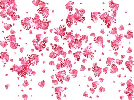 Rose color heart shapes wallpaper pattern. Romantic emotions vector symbols. Cute Valentines card background. Party decor hearts flying beautiful vector illustration.
