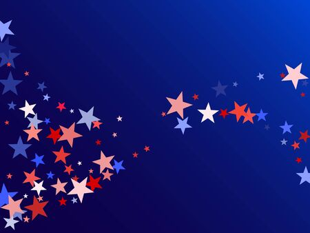 American Independence Day red blue white stars vector backgound. USA flag colors bright fourth of july wallpaper. Flying star sparkles american symbols. Independence day holiday abstraction. Иллюстрация