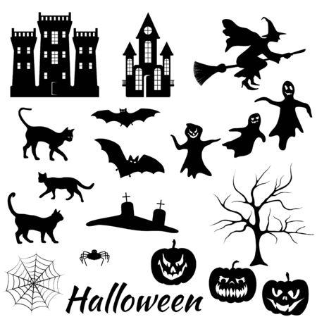 Collezione vettoriale di sagome di Halloween: pipistrelli, castelli, gatti, volti di paura, fantasmi, lapidi di tombe, sagome spaventose di zucche, ragno, albero, ragnatela, streghe volanti. Elementi isolati di festa di Halloween. Vettoriali