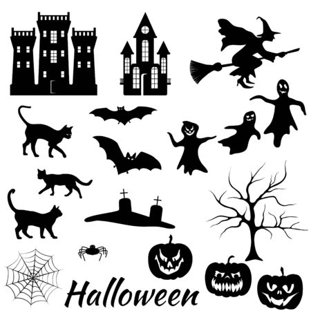Halloween silhouettes vector collection: bats, castles, cats, fear faces, ghosts, graves headstones, pumpkins scary silhouettes, spider, tree, web, witch flying. Isolated Halloween holiday elements. Vector Illustration