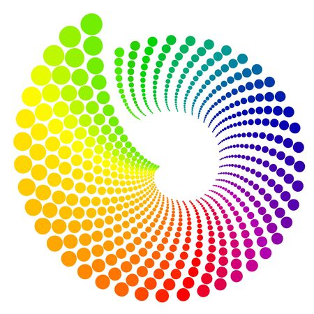 Color wheel shaped like shell, isolated on white background vector illustration.