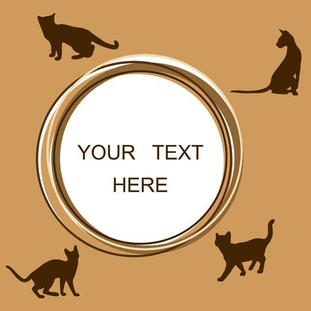 Round frame with cats. Circle border for text. Cats sitting and walking.
