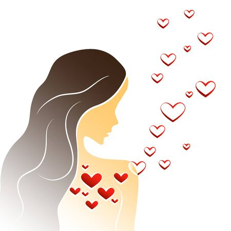 Young woman in love, illustration with girl silhouette and hearts. Beautiful long hair girl in love.