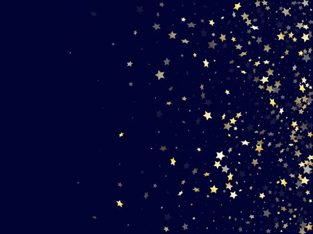 Gold falling star sparkle elements of glitter gradient vector background. Cool confetti gold stars falling glitter gradient sparkles on dark blue. Christmas starburst fireworks pattern. 일러스트