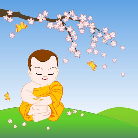 Buddhist monk sitting in peaceful meditation under sakura branch. Cartoon vector illustration of monk, flowers and butterflies. Ilustração