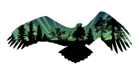 Eagle and trees silhouettes vector illustration.