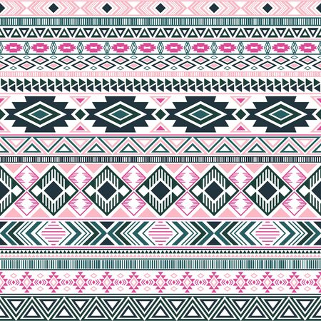 Mexican american indian pattern tribal ethnic motifs geometric seamless background. Impressive native american tribal motifs textile print ethnic traditional design. Mayan clothes pattern design.