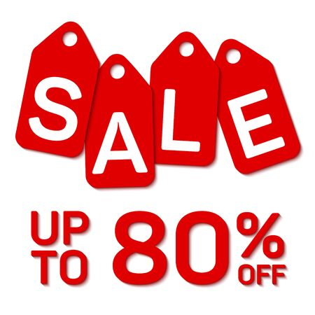 Sale tag sign, up to 80 percent off discount offer. Red and white vector Christmas or Black Friday Sale banner. Shopping time up to 80 percent off special offer. White calligraphic sale text on tags.