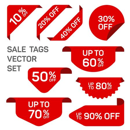Red discount sale labels set. Vector tag, promo badge, sticker off templates. Promo icons, product signs mockup collection. Off discounts sale tag labels 10, 20, 30, 40, 50, 60, 70, 80, 90 percent off