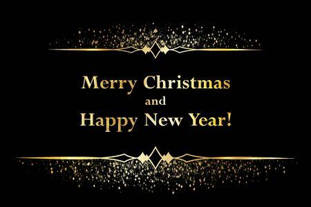 Christmas glitter sparkles, gold Happy New Year frame border vignette dividers. Magic sparkling cosmic background, falling gold glitter confetti. Holiday lights, festive new year, christmas sparkles