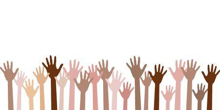 Levé les mains d'illustration vectorielle de couleur de peau différente. Travail d'équipe, collaboration, vote, concert de bénévolat. Diversité des mains humaines levées. Charité, foule, main-d'œuvre, concept communautaire.