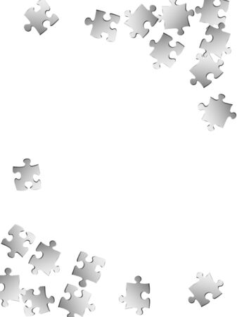 Abstract enigma jigsaw puzzle metallic silver pieces vector background. Group of puzzle pieces isolated on white. Teamwork abstract concept. Jigsaw match elements.