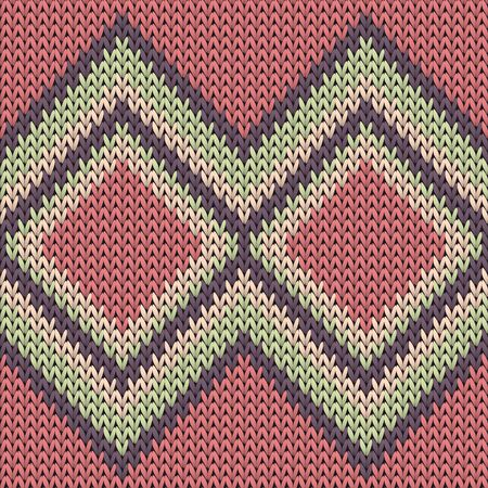 Fairisle rhombus argyle christmas knit geometric seamless pattern. Pullover knitwear structure imitation. Winter seamless knitted pattern. Abstract xmas wallpaper.