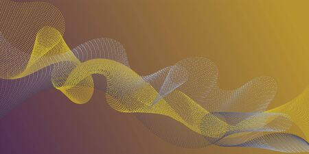 Futuristic lines wave progressing pattern. Technological optical fiber concept vector. Cool curl lines ripple texture design. Blend curves minimal 3d banner or flyer background. Ilustrace