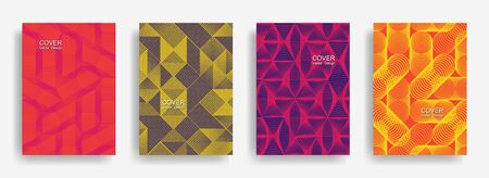 Tech halftone shapes minimal geometric cover templates set graphic design. Halftone lines grid vector background of triangle, hexagon, rhombus, circle shapes. Concise geometric cover backgrounds.